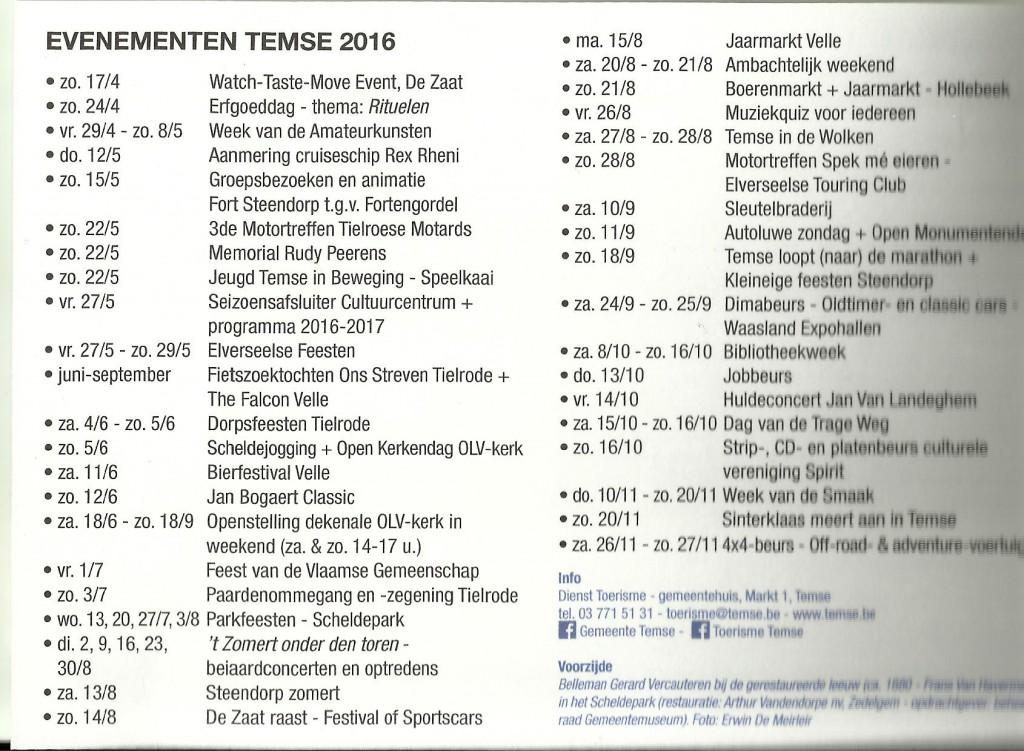 Bellemankaart Evenementen Temse 2016