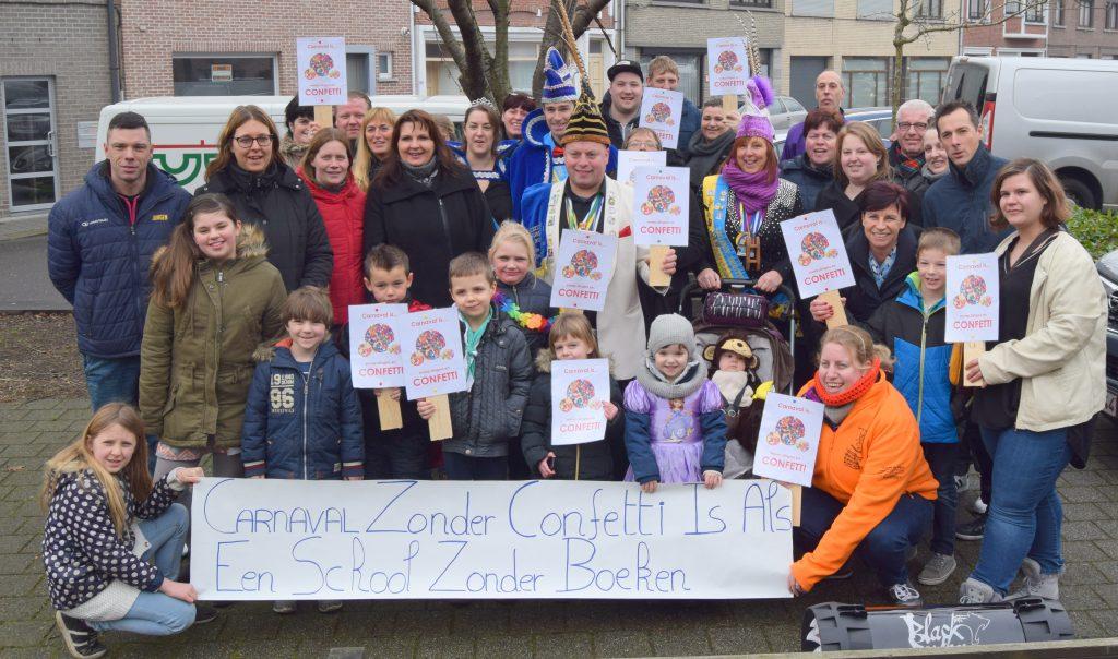 Protestactie confettiverbod Kindercarnaval Steendorp 2017