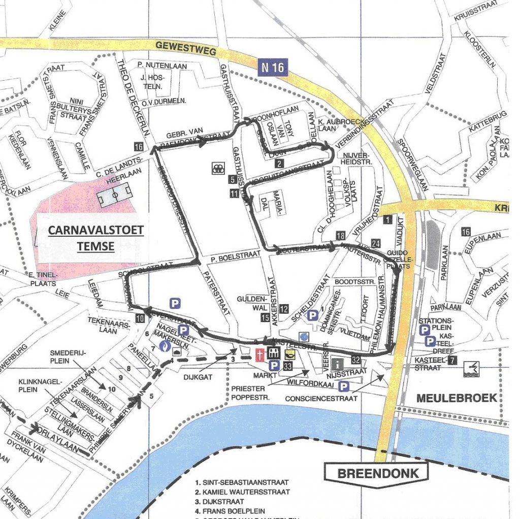 Carnaval Temse 2017 parcours ok
